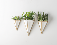 White Enamel & Gold Tapered Wall Planter