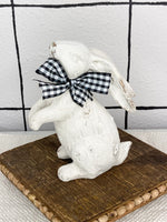 Resin Bunny with Plaid Ribbon Easter