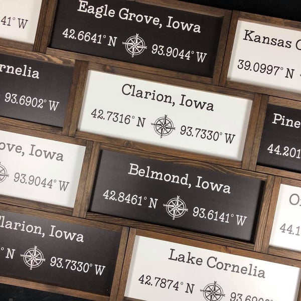 8x20 Coordinates Sign Old Home or Current Home