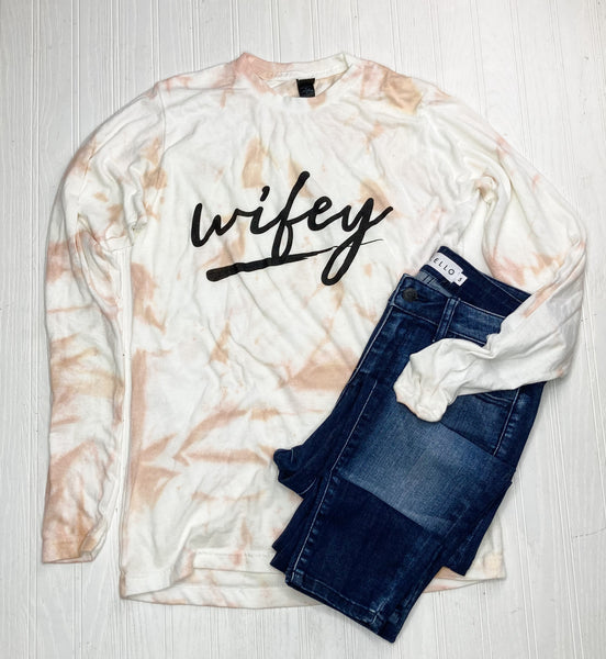 Wifey Pink and White Long Sleeve