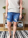 Mid Rise Distressed Long Short