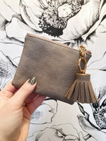 Jolene Coin Pouch With Tassel Pull { Stone }