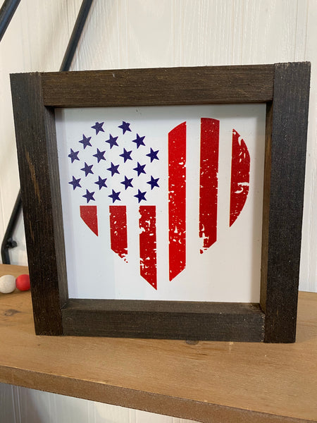 6x6 4th of July Flag Heart