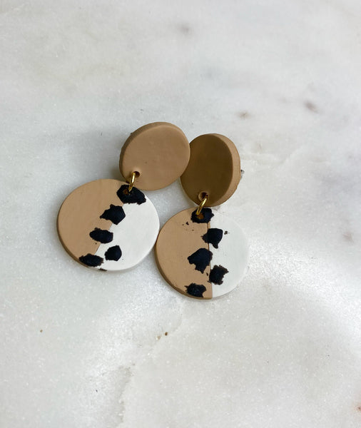Parker Tan Spotted Clay Earrings