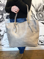Iris Vegan Leather 2-in-1 Tote { Stone }