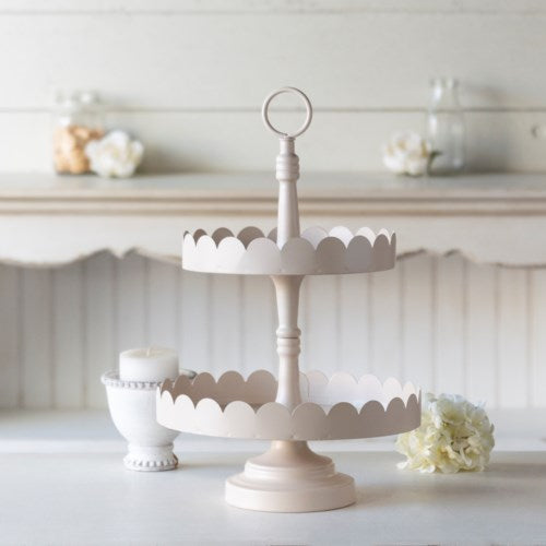 Metal Scallop Two Tier Tray