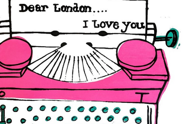 """Love London"" Print - Original art by Paul McNeil - A3 size - Pink - Junk Art Design @junkartdesign www.junkartdesign.co.uk"