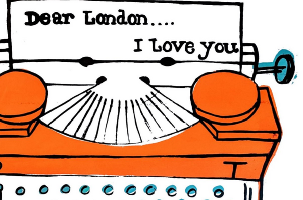"""Love London"" Print - Original art by Paul McNeil - A3 size - Orange - Junk Art Design @junkartdesign www.junkartdesign.co.uk"