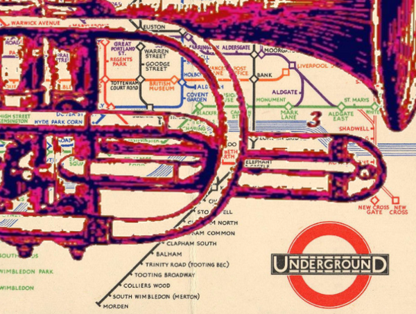 Trumpet on Vintage London Underground Map - Print - Original art by Paul McNeil - A3 size - Junk Art Design @junkartdesign www.junkartdesign.co.uk