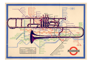 Trombone on Vintage London Underground Map - Print - Original art by Paul McNeil - A3 size - Junk Art Design @junkartdesign www.junkartdesign.co.uk