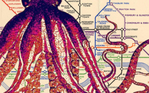 Octopus on Vintage London Underground Map - Print - Original art by Paul McNeil - A3 size