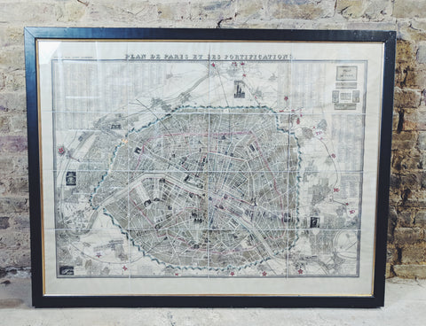 "Large FRAMED Old PARIS MAP ""Plan De Paris Et Fortifications"" from 1844 - Junk Art Design @junkartdesign www.junkartdesign.co.uk"