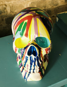 Ceramic SKULL with multicoloured paint drip effect - Junk Art Design @junkartdesign www.junkartdesign.co.uk