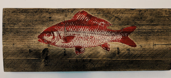 """CRAP"" Carp fish screen print on wood plank - Junk Art Design @junkartdesign www.junkartdesign.co.uk"