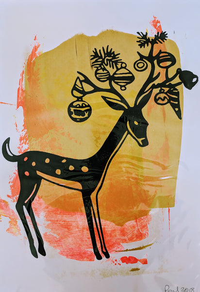 Original REINDEER screen print by Paul McNeil - Junk Art Design @junkartdesign www.junkartdesign.co.uk
