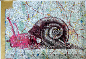 Original SNAIL screen print by Paul McNeil - A3 size - Junk Art Design @junkartdesign www.junkartdesign.co.uk