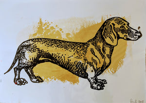 Original DACHSHUND screen print by Paul McNeil - A3 size - Junk Art Design @junkartdesign www.junkartdesign.co.uk