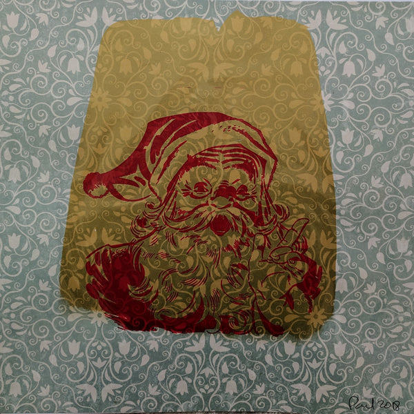 Original SANTA CLAUS screen print by Paul McNeil - Junk Art Design @junkartdesign www.junkartdesign.co.uk