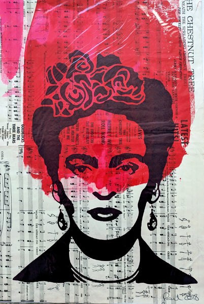Original FRIDA KAHLO screen print by Paul McNeil - A3 size - Junk Art Design @junkartdesign www.junkartdesign.co.uk
