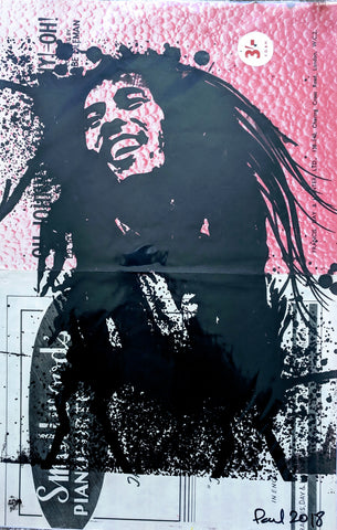 Original BOB MARLEY screen print by Paul McNeil - A3 size - Junk Art Design @junkartdesign www.junkartdesign.co.uk