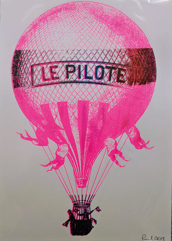 Original HOT AIR BALOON screen print by Paul McNeil - A3 size - Junk Art Design @junkartdesign www.junkartdesign.co.uk