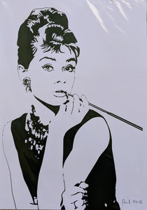 Original AUDREY HEPBURN screen print by Paul McNeil - A3 size - Junk Art Design @junkartdesign www.junkartdesign.co.uk