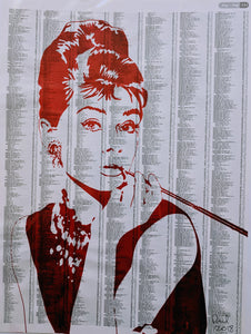 Original AUDREY HEPBURN screen print by Paul McNeil - A3 size