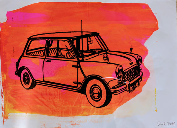 Original MINI screen print by Paul McNeil - A2 size - Junk Art Design @junkartdesign www.junkartdesign.co.uk