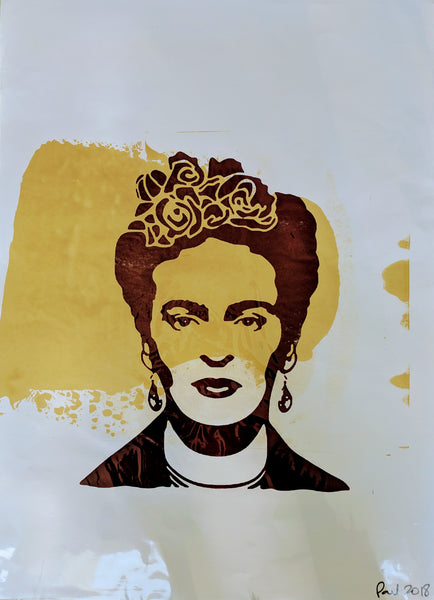 Original FRIDA KAHLO screen print by Paul McNeil - A2 size - Junk Art Design @junkartdesign www.junkartdesign.co.uk