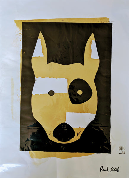 Original TERRIER DOG screen print by Paul McNeil - A2 size - Junk Art Design @junkartdesign www.junkartdesign.co.uk