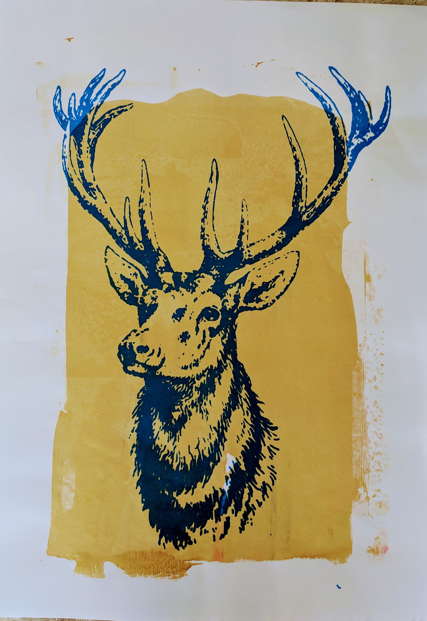 Original STAG screen print by Paul McNeil - A2 size - Junk Art Design @junkartdesign www.junkartdesign.co.uk