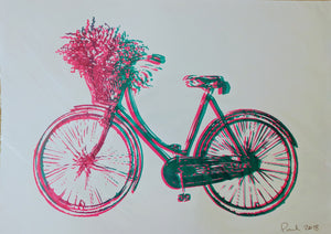 Original BICYCLE screen print by Paul McNeil - Junk Art Design @junkartdesign www.junkartdesign.co.uk