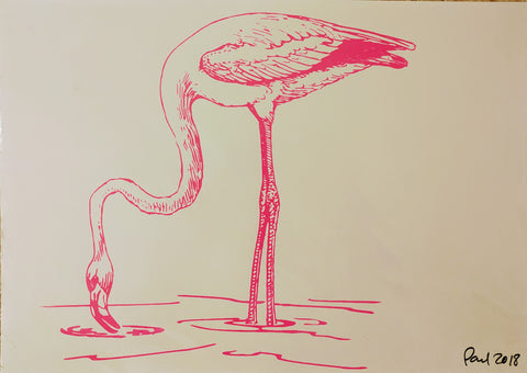 Original FLAMINGO screen print by Paul McNeil - A2 size