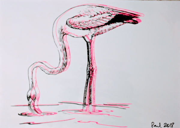 Original FLAMINGO screen print by Paul McNeil - A2 size - Junk Art Design @junkartdesign www.junkartdesign.co.uk