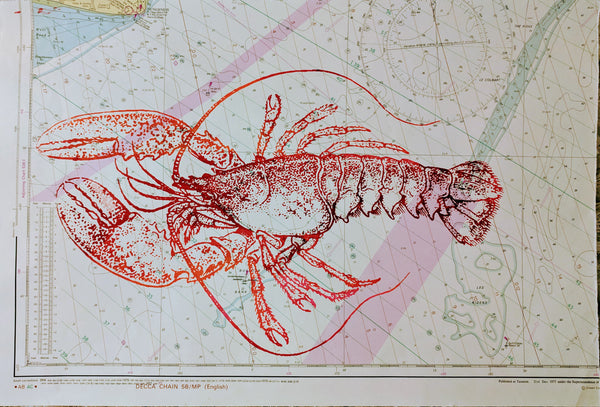 Original LOBSTER screen print by Paul McNeil - A3 size - Junk Art Design @junkartdesign www.junkartdesign.co.uk