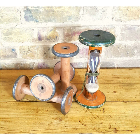 Set of 4 large vintage cotton weaving spools with sand timer - Junk Art Design @junkartdesign www.junkartdesign.co.uk
