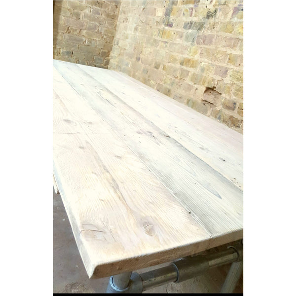 Large reclaimed pine Dining Table with scaffold legs - Junk Art Design @junkartdesign www.junkartdesign.co.uk
