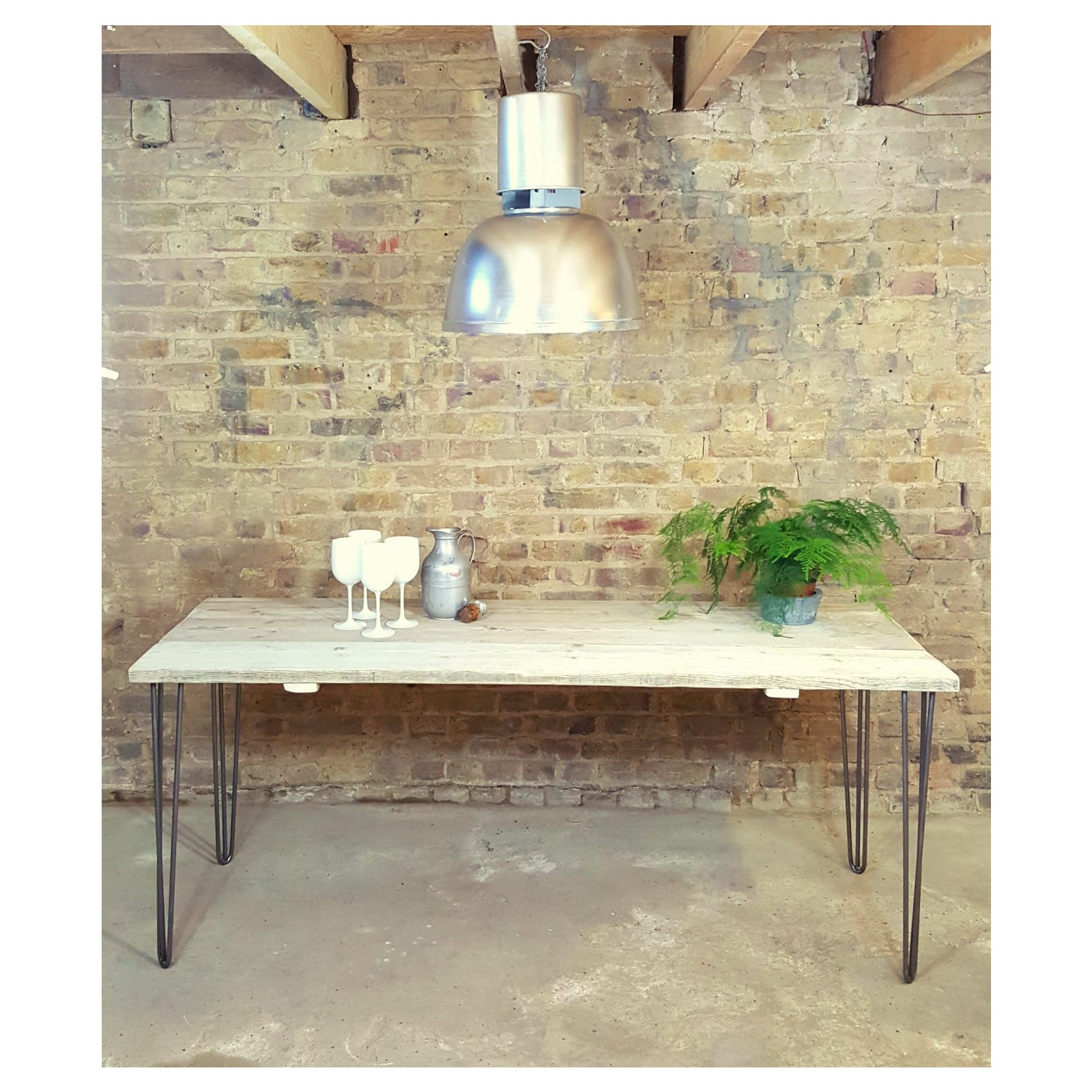 Reclaimed pine Dining Table with metal hairpin legs - Junk Art Design @junkartdesign www.junkartdesign.co.uk