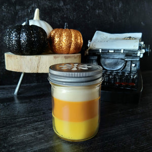 Candy Corn candle - glass jar