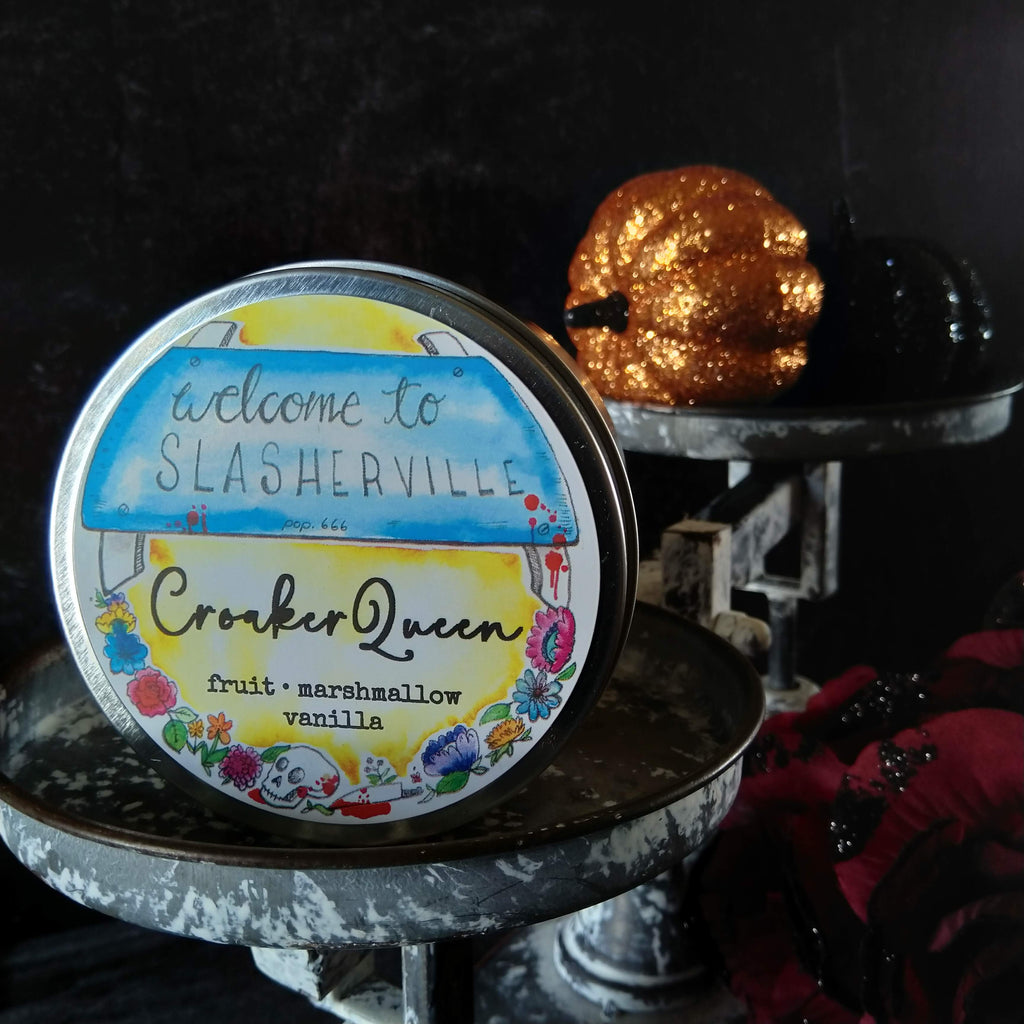 Croaker Queen candle - metal tin