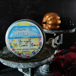 The Night HE Came Home candle - metal tin