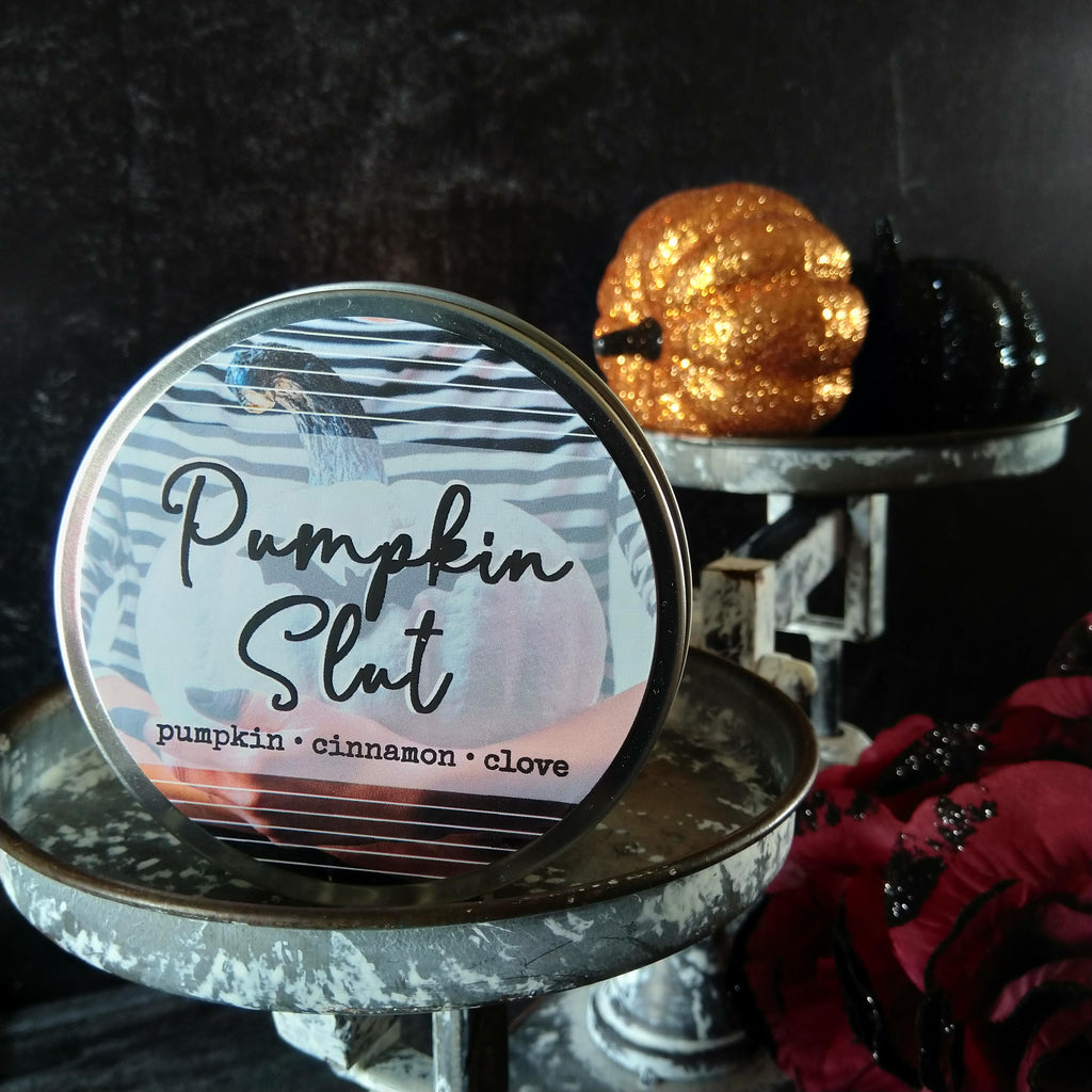 Pumpkin Slut candle - metal tin