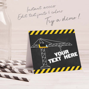 construction birthday party buffet cards template editable instant download