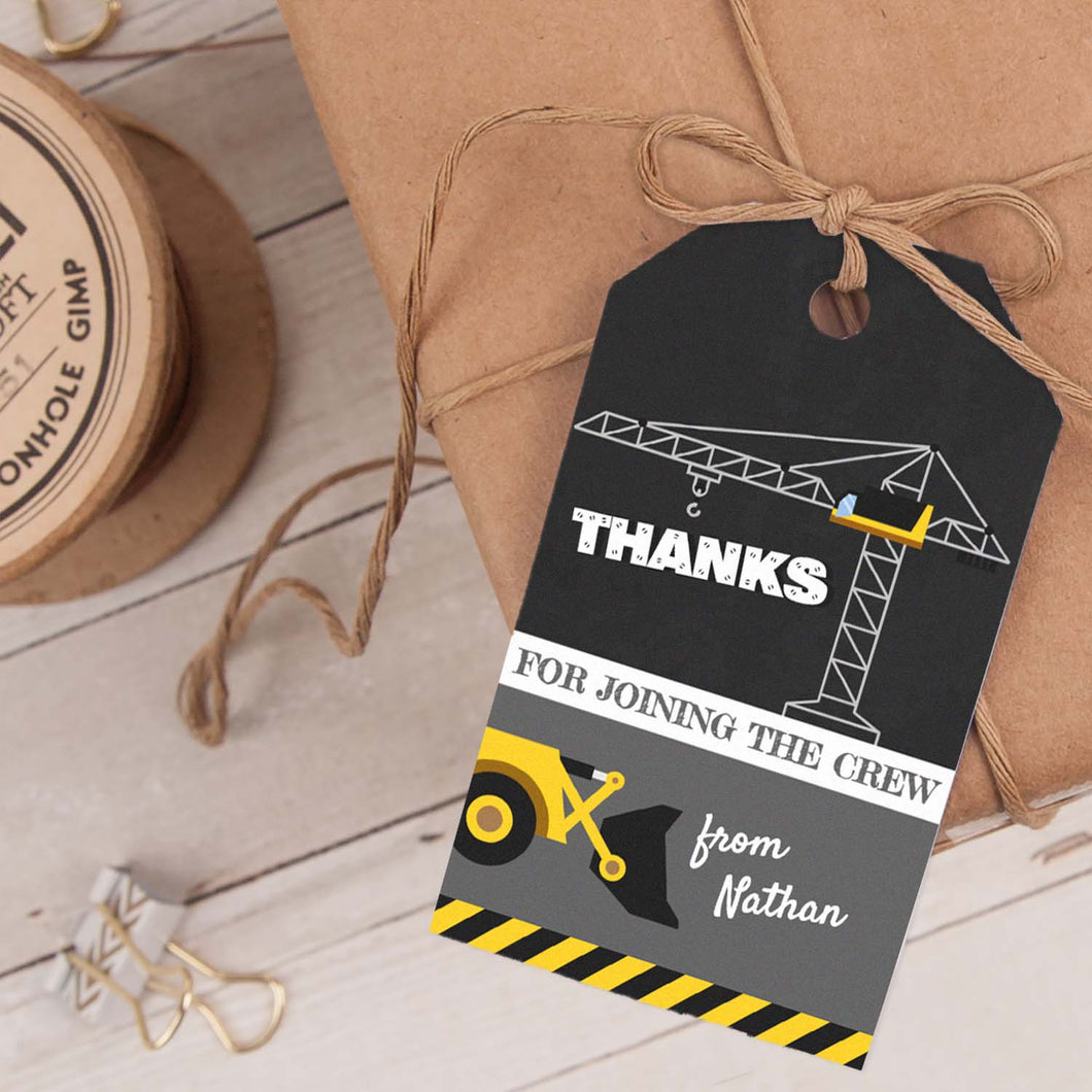 construction birthday party favor tag template editable instant download
