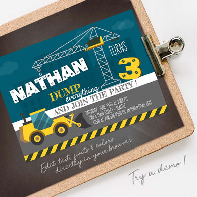 construction birthday party invitation template editable instant download boys