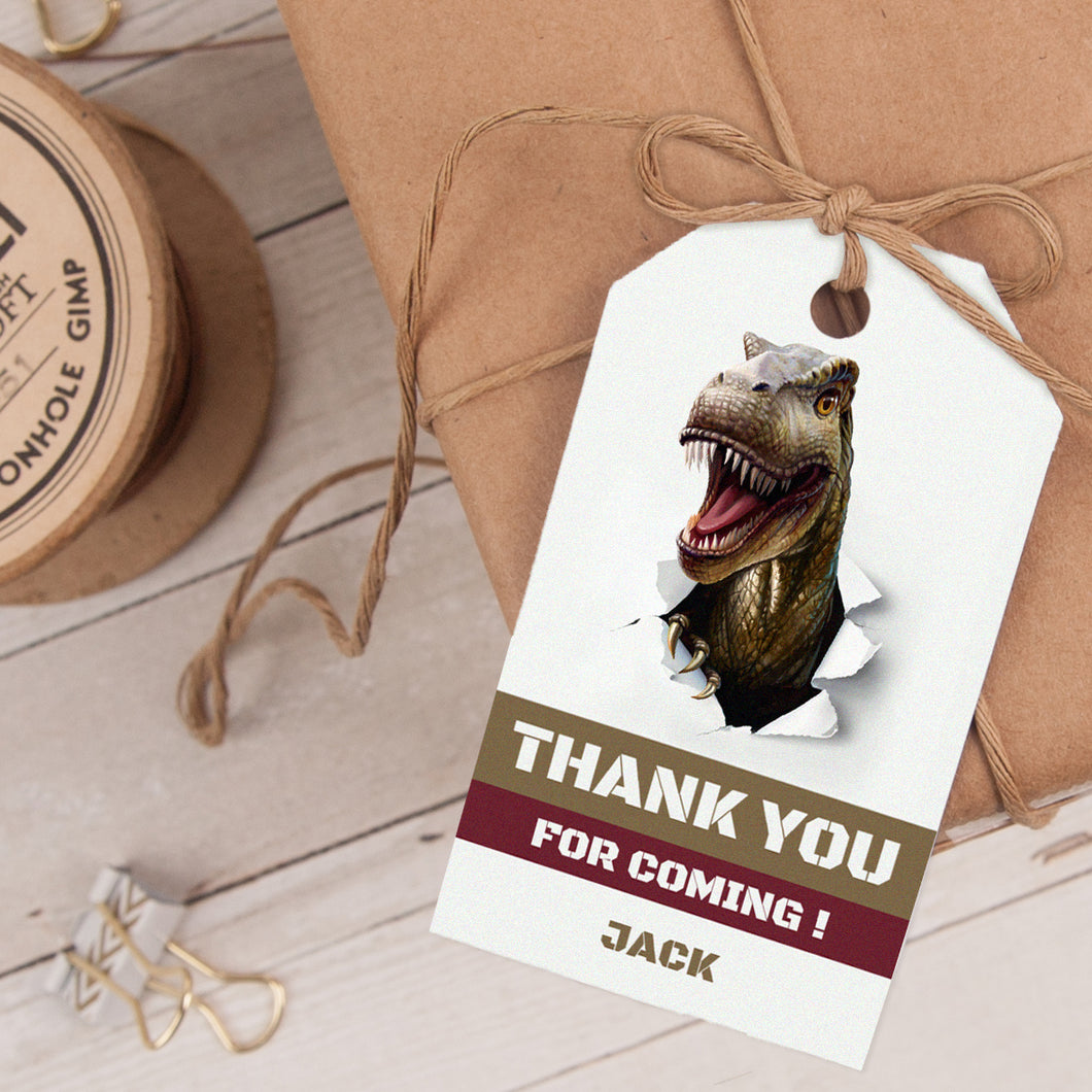 dinosaur birthday party favor tag template editable instant download