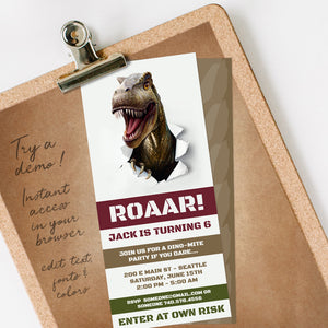 Dinosaur T Rex Birthday Party Invitation Template Editable Instant Download Boys