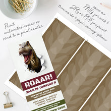 dinosaur T-rex birthday party invitation template editable instant download boys