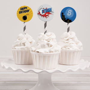 comic superhero birthday party cupcake toppers template editable instant download