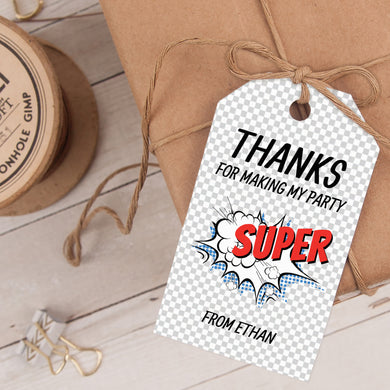 comic superhero birthday party favor tag template editable instant download